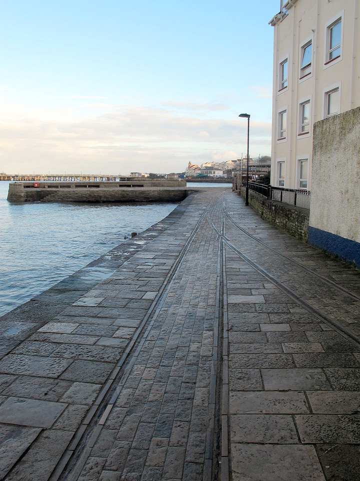 Old narrow gauge trackway preserved on Swanage Quay.