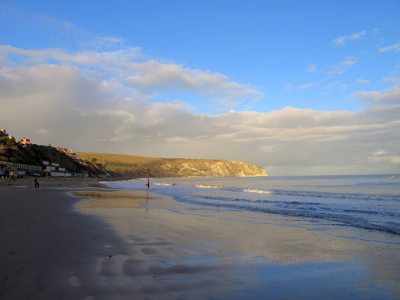 Down on the beach at Swanage, with Ballard Point beyond.