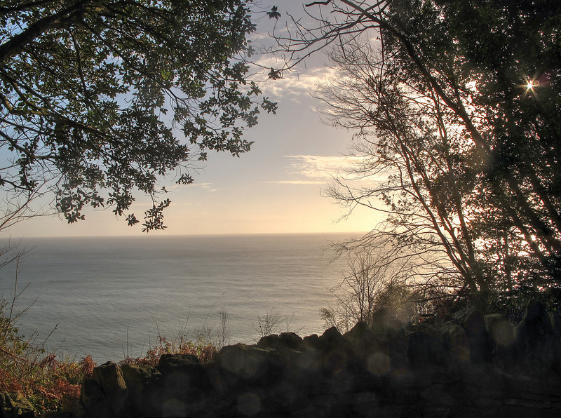 Looking out to sea from the approach to Durlston Castle.