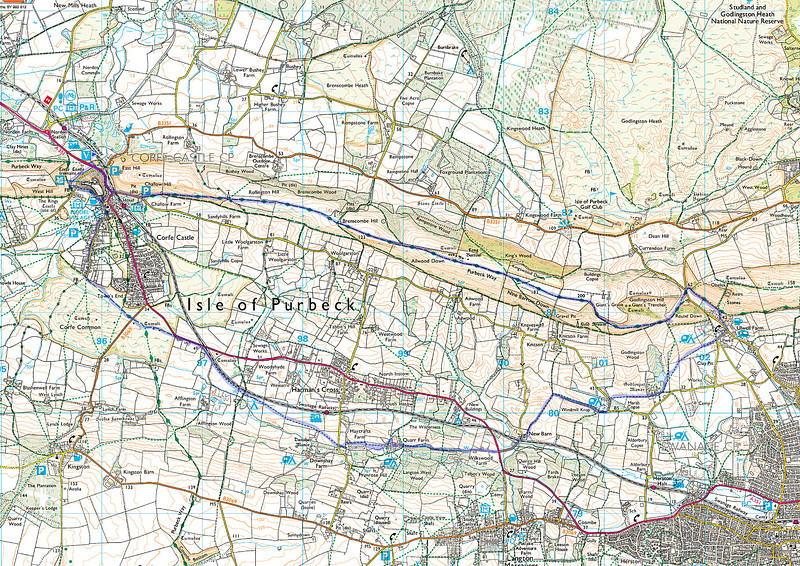 A trace of the actual route taken superimposed on an OS map of the area.   The start point is at the top left hand corner on the route.