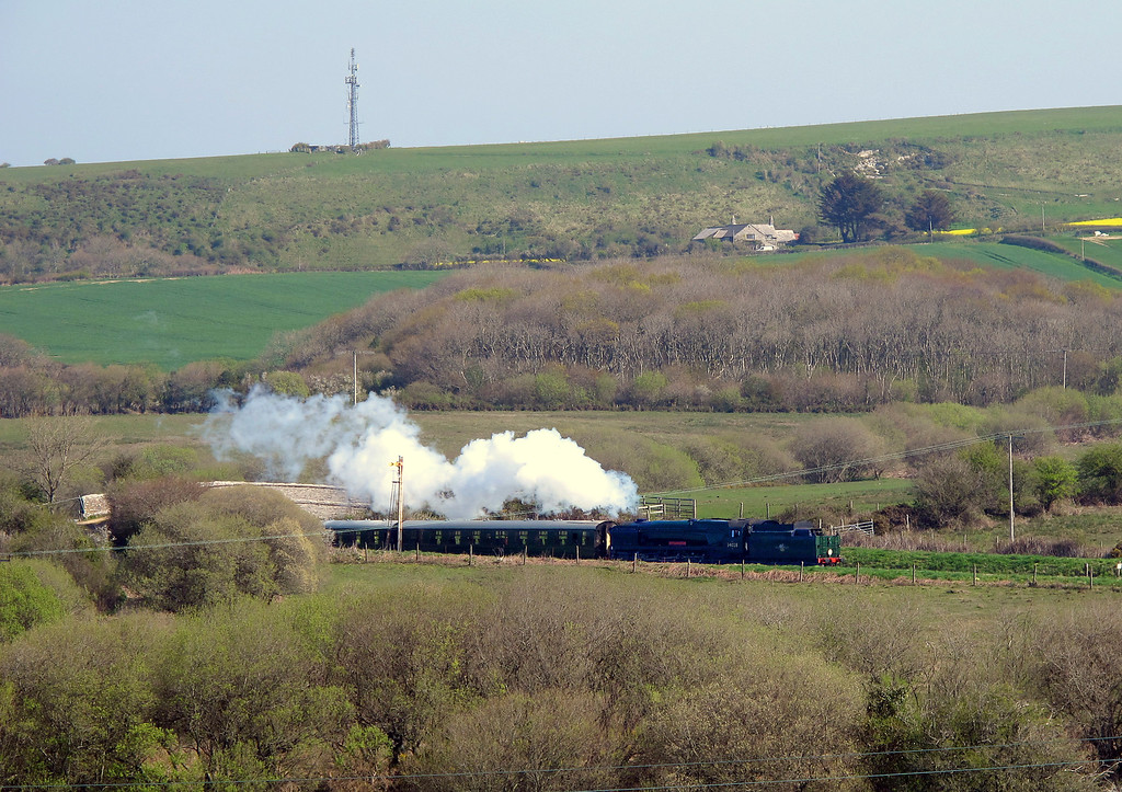 Swanage Railways West Country class Bulleid Pacific No. 34028 Eddystone which passed by soon after I started.