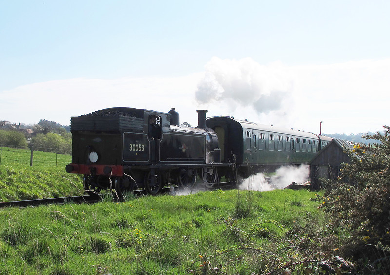 This is a Drummond M7 30053 owned by Drummond Locomotives Limited, and has been running regularly on the Swanage Railway since 1992, having taken 5 years from arrival in 1987 to be overhauled into running condition.   It chuffed by as I walked towards Harman's Cross.