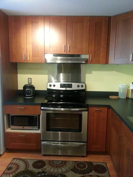 Kitchen. New stove, range hood, and microwave.