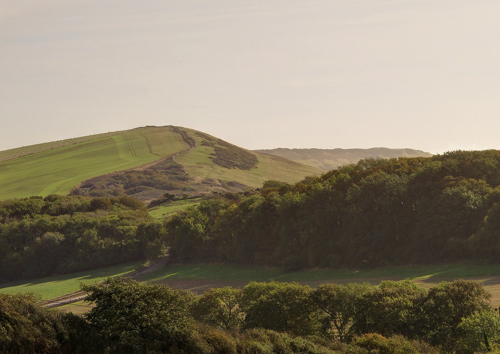 The high ground in the picture is the ridge East of Kimmeridge towards Swyre Head in the distance.