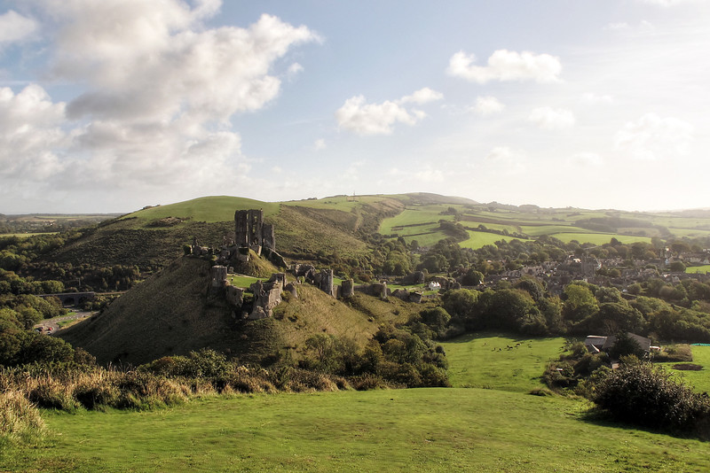 Corfe Castle in morning sunshine.