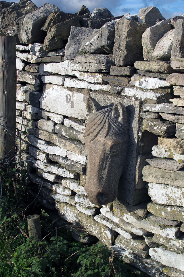 Out in the middle of nowhere someone has installed this horses head into a dry stone wall.