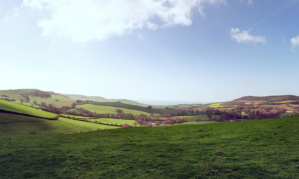 A panoramic shot looking to the South from Henwood Hill.   The wooded area to the right is Langdon Hill, which obscures Golden Cap from this point.