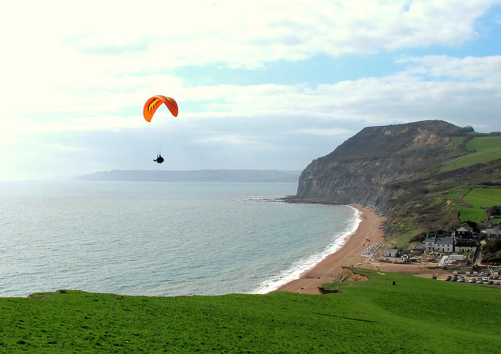 A paraglider takes in a great view.