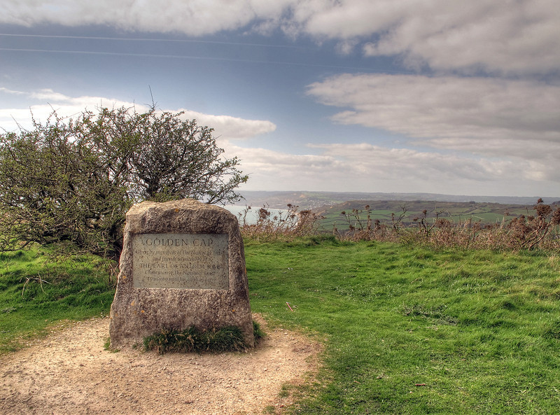 The summit at Golden Cap, which at 191 metres (627 feet in old money) is the highest point on the south coast of England.