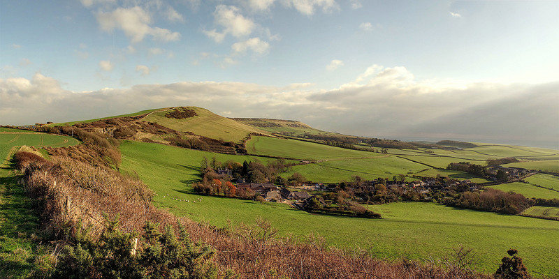 Looking back towards Swyre Hread with Kimmeridge Village in the foreground.