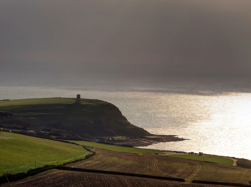 Clavell Tower against the low sun.