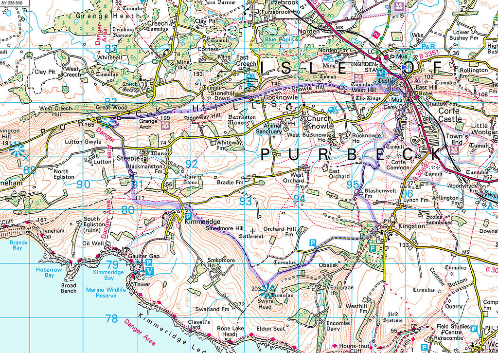 An OS map of the route walked.