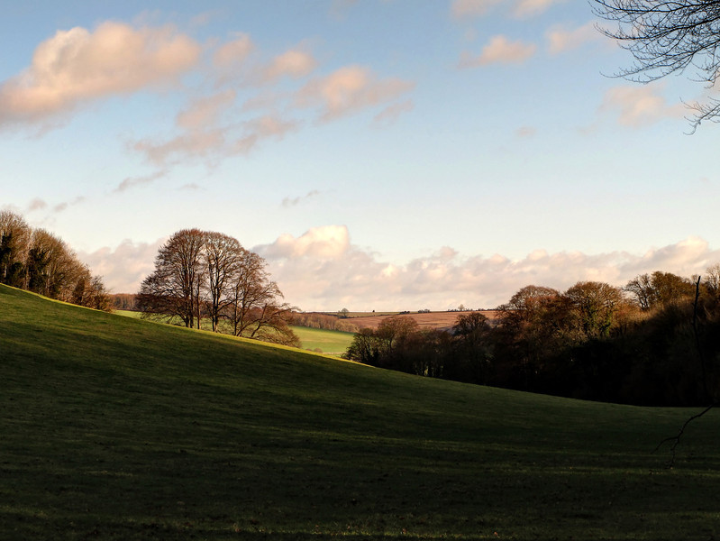 """The view back towards Blandford from """"The Hanging"""" just West of the Bryanston School entrance gate."""