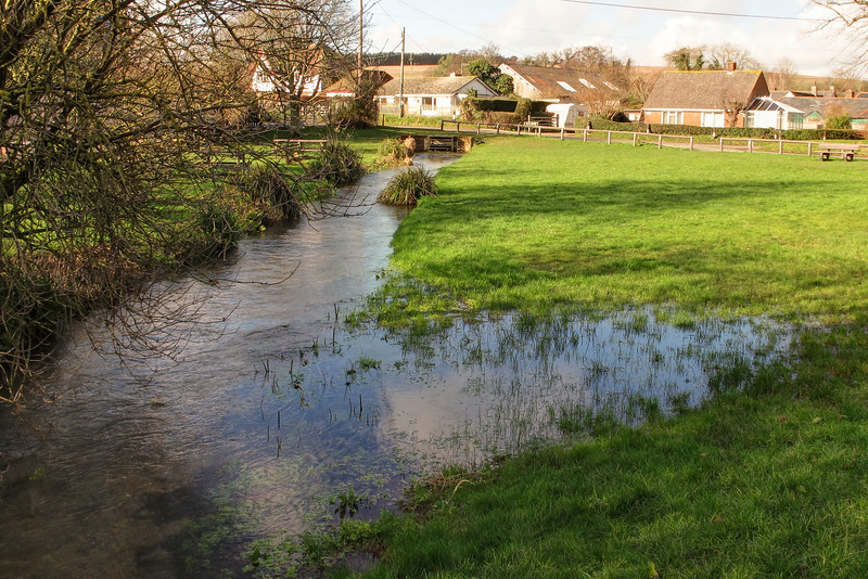 This swollen stream on the green at Stickland is normally a trickle.