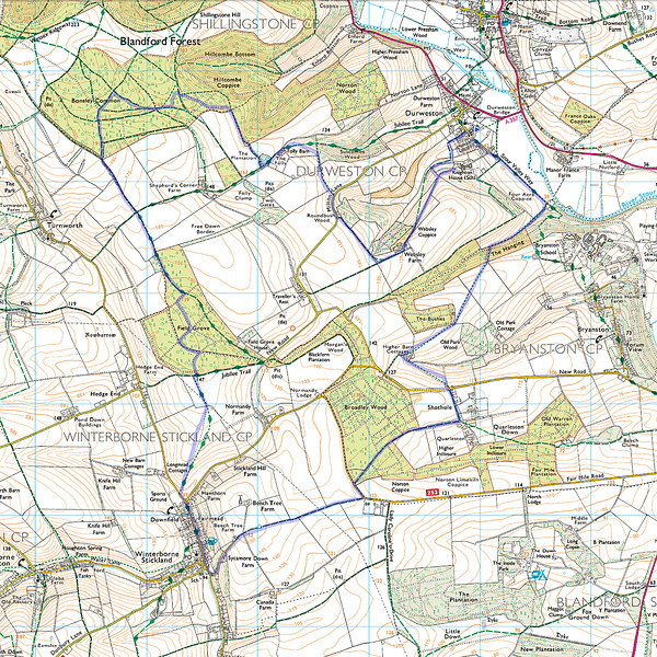 The route walked as recorded on my mobile phone - I went in a clockwise direction