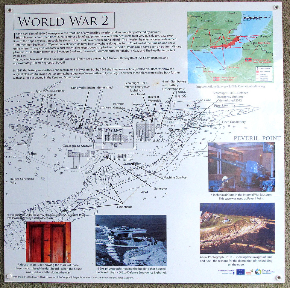 Peveril point gun battery from the second world war has visitor information boards.