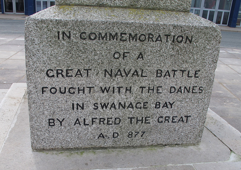 On the promenade in swanage  - the base of a granite obelisk commemorating the naval battle against the Danes.