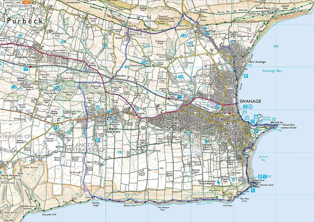 A map showing the actual route in blue.   The walk started near Ulwell Farm and went anti-clockwise.