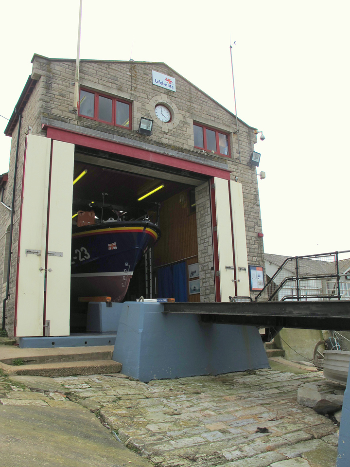 """The Swanage lifeboat station.   At Swanage there are two lifeboats, an All Weather 'Mersey' class and a 'D-Class' inshore lifeboat.<br /> They have a webcam mounted up at roof level available here :-<br /> <a href=""""http://www.swanagelifeboat.org.uk/webcam/"""">http://www.swanagelifeboat.org.uk/webcam/</a>"""