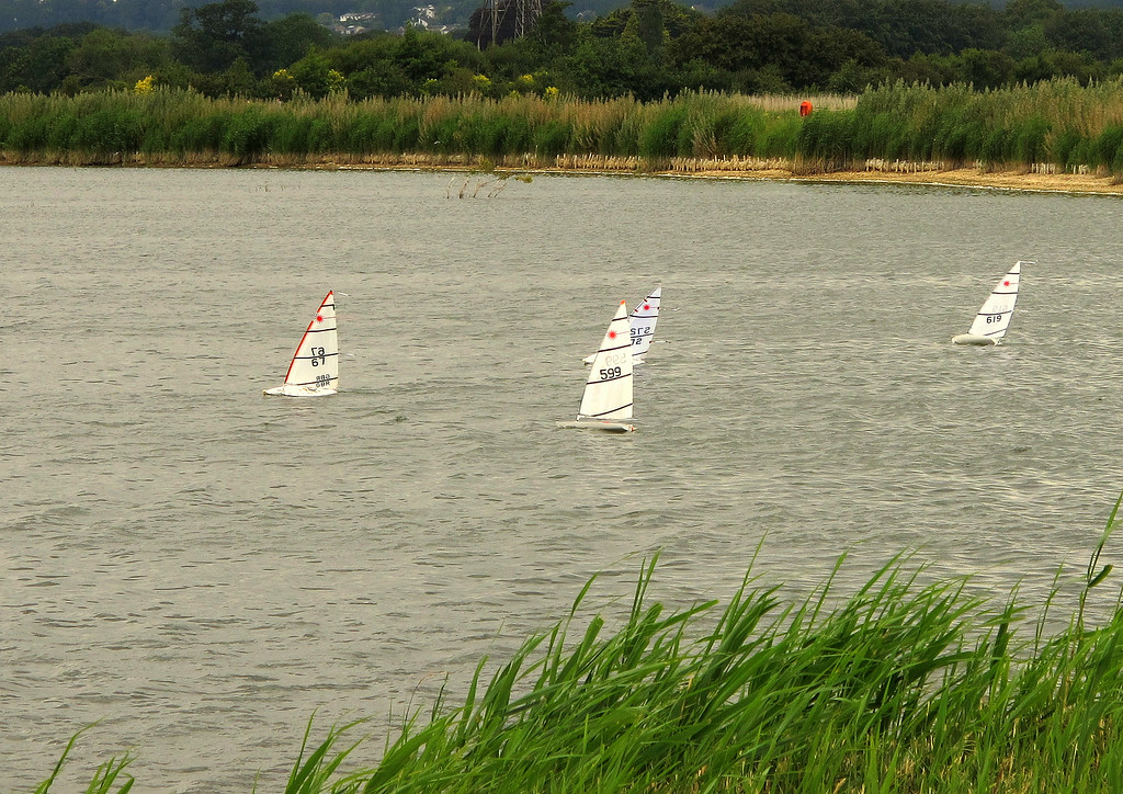 Model yachts sailing on the reservoirs at Longham.....
