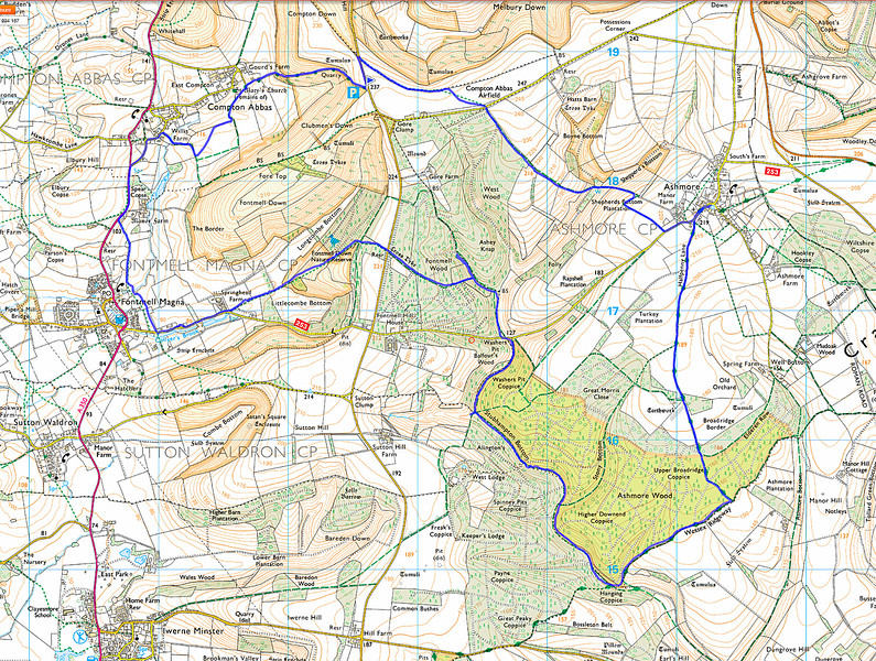 The map of the area showing the route walked, in a clockwise direction, from the little blue flag at the top.
