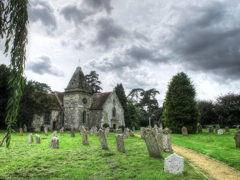The 17th century Church of St Wolfrida, Horton (with my car just visible on the right hand side).