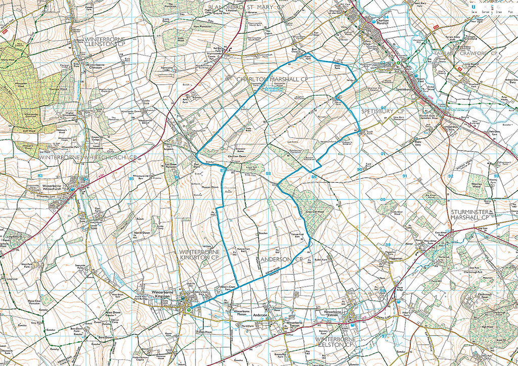 The route taken in an anticlockwise direction is shown in blue
