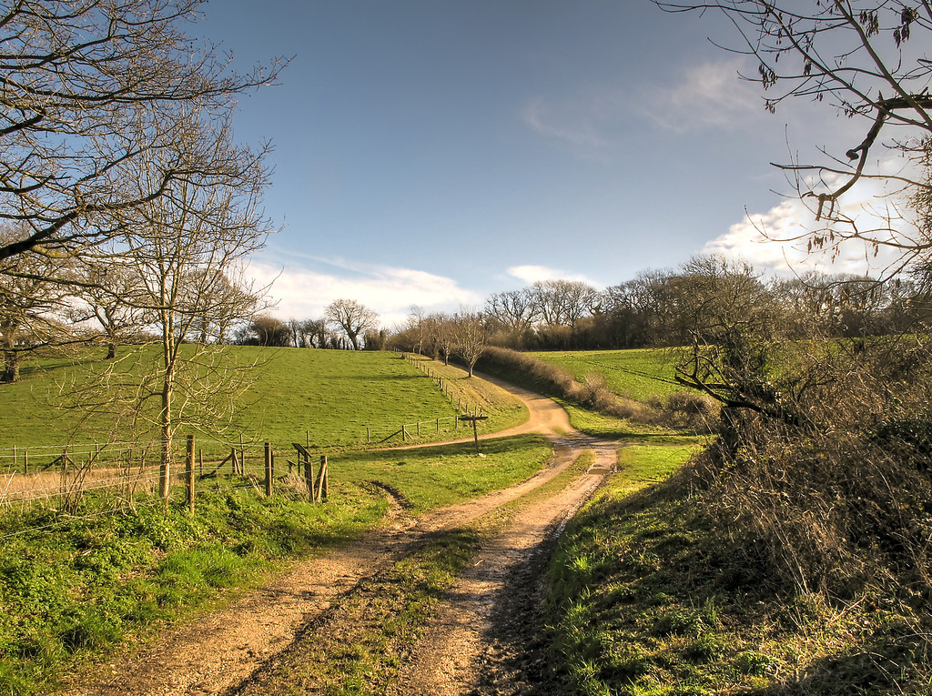 The lunch stop - a crossroad to the rear of Badbury Rings.