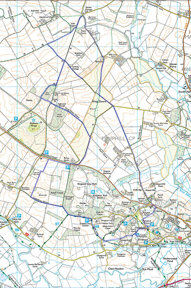 The route I walked - starting at the small blue triangle at Pamphill Green and going anticlockwise