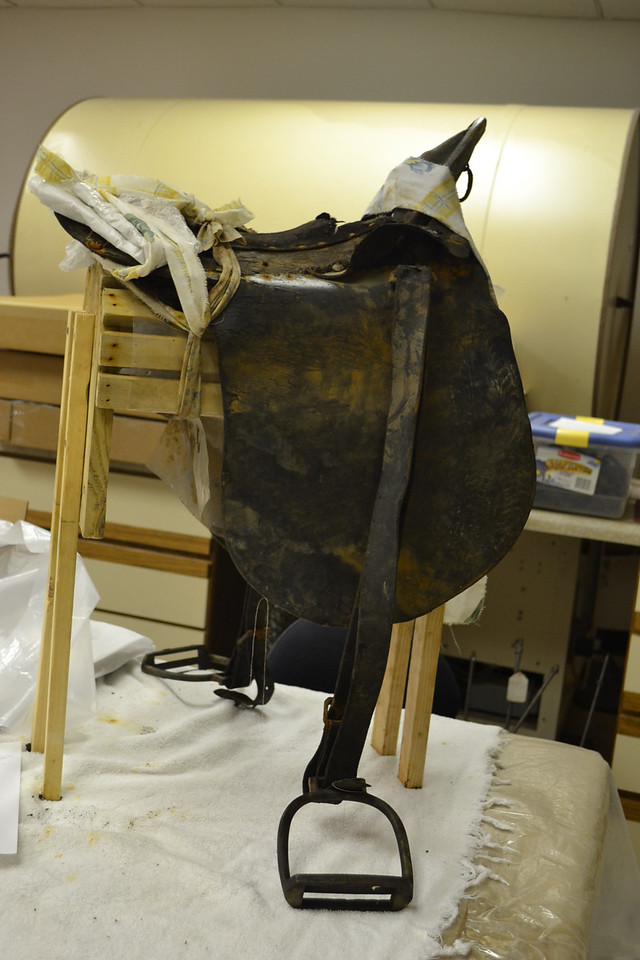 A saddle being restored by the Arabia Museum.