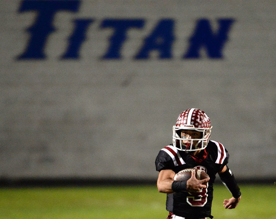 . La Serna quarterback Frankie Palmer (9) scrambles for a first down against Norwalk in the first half of a CIF-SS Southeast Division championship football game at Cal State Fullerton stadium in Fullerton, Calif., on Saturday, Dec. 7, 2013.   (Keith Birmingham Pasadena Star-News)