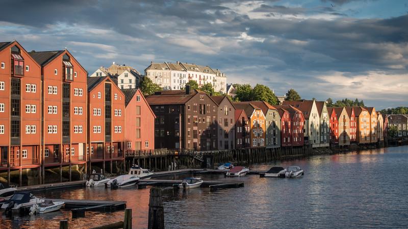Old Warehouses Along Nidelva River, Trondheim