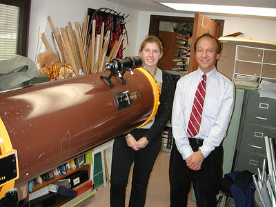 Physics Instructor Cheryl Harper and Dr. Robert Yakulas pose beside this wonderful instrument.