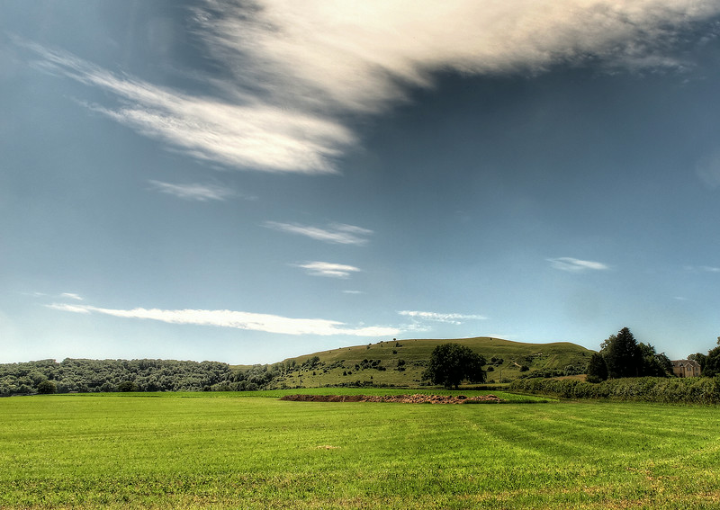 On towards Iwerne Minster and a look back at the hill.