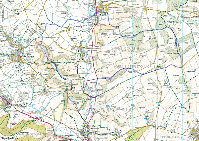 The route walked is shown in blue - a total of around 12.08 miles and done clockwise.