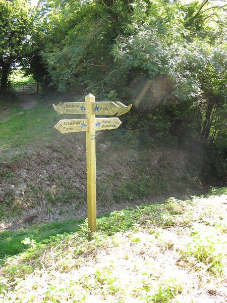 The signpost at the Dorset Gap, an ancient track through a gap in the Wessex Ridge.