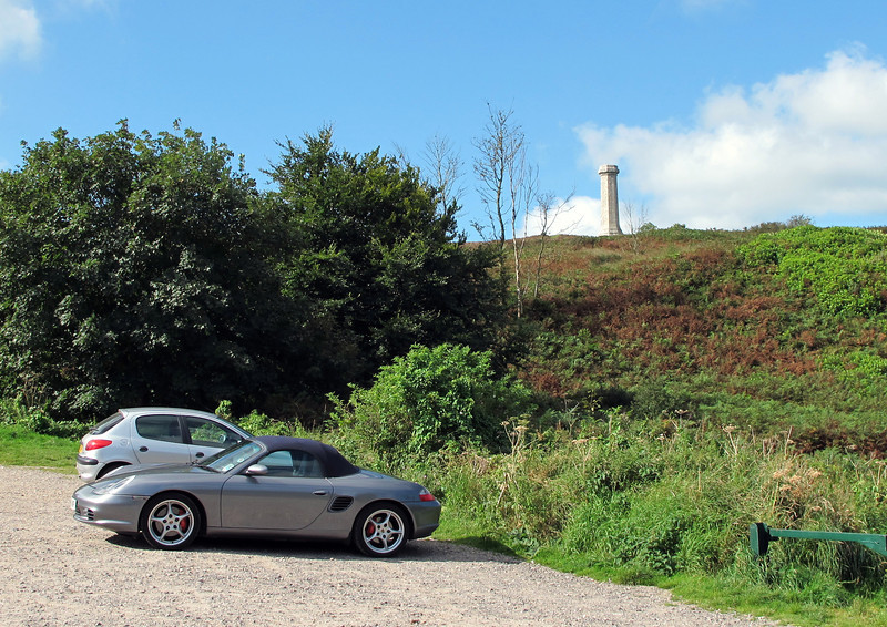 The Hardy Monument on the hill depicts a naval spyglass (telescope) from Napoleonic times.
