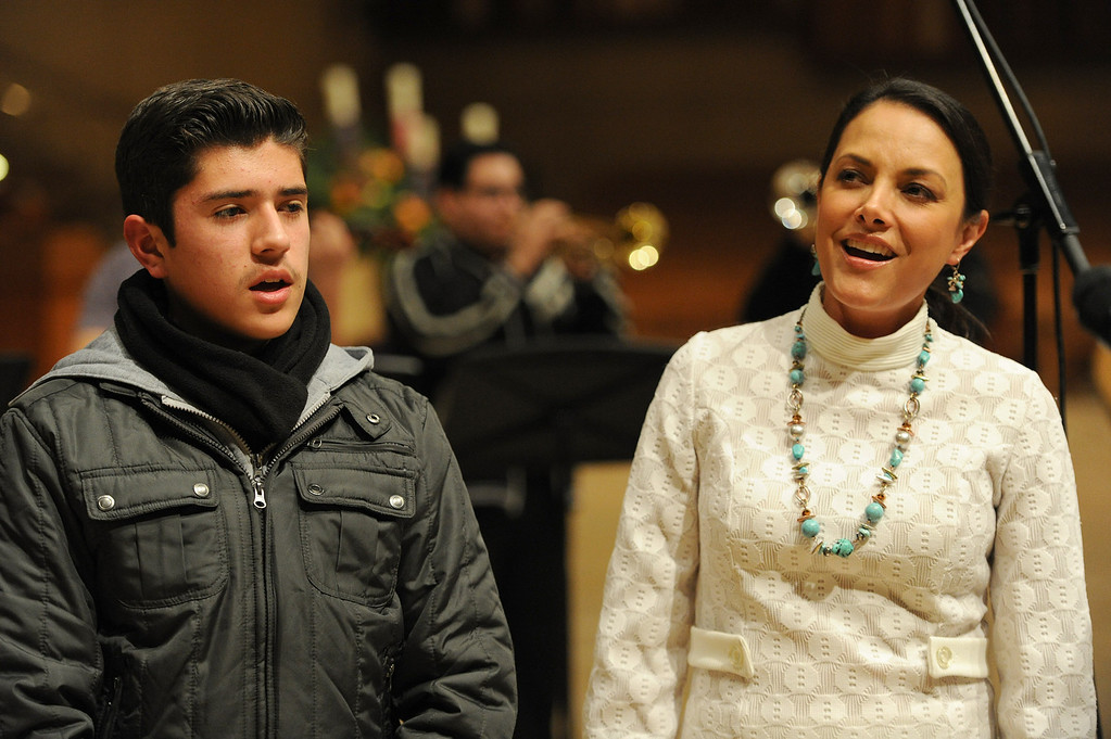 . Ruben Sandoval and Barbara Padilla sing. Singers and Mariachi rehearse the celebration in honor of Our Lady of Guadalupe at the Cathedral of the Lady of the Angels, 555 W. Temple Street.  Wednesday December 11, the annual celebration will begin at 8 p.m. with Aztec dancers on the Cathedral Plaza. At 10 p.m. the celebration continues inside the Cathedral for a special Rosary. Los Angeles, CA. 12/7/2013, photo by (John McCoy/Los Angeles Daily News)