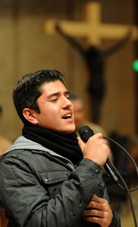. Ruben Sandoval, considered to be an international singing sensation, sings his part. Singers and Mariachi rehearse the celebration in honor of Our Lady of Guadalupe at the Cathedral of the Lady of the Angels, 555 W. Temple Street.  Wednesday December 11, the annual celebration will begin at 8 p.m. with Aztec dancers on the Cathedral Plaza. At 10 p.m. the celebration continues inside the Cathedral for a special Rosary. Los Angeles, CA. 12/7/2013, photo by (John McCoy/Los Angeles Daily News)