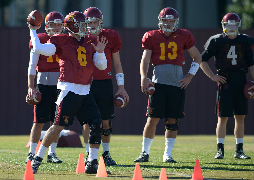 . QB Cody Kessler. USC Coach Clay Helton held the final Saturday practice of the season before the Trojans play Fresno State on December 21 in Las Vegas. Los Angeles, CA. 12/14/2013, photo by (John McCoy/Los Angeles Daily News)