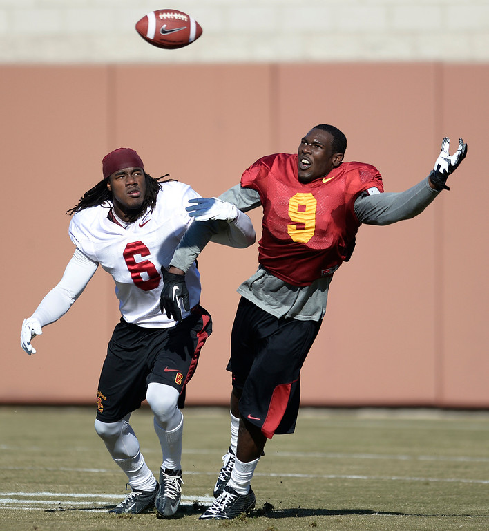 . #6 Josh Shaw goes up against #9 Marqise Lee. USC Coach Clay Helton held the final Saturday practice of the season before the Trojans play Fresno State on December 21 in Las Vegas. Los Angeles, CA. 12/14/2013, photo by (John McCoy/Los Angeles Daily News)