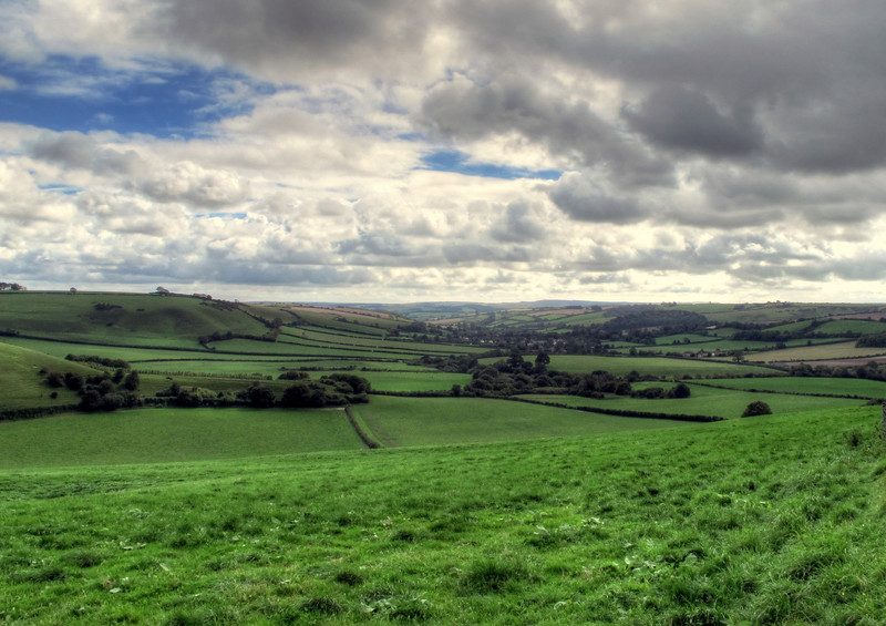 Looking along the Valley South Easterly towards the coast from the Ridgeway at Higher Chalmington