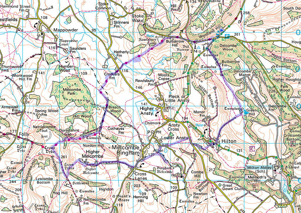 The actual route walked as recorded on my phone.   The walk was done anticlockwise.