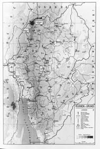 Op deze kaart van de Ruanda-Burundi (of Urundi) ligt Ruhengeri in het noorden.  Het is een stadje gelegen op ongeveer 1900 meter hoogte.  Het is er aangenaam leven.  Let op de ligging van Astrida (Butare), waar de kinderen op school zullen gaant in het Institut St-Jean.