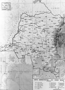 """Op 25-08-1947 komt de familie aan in Banana met de """"Alex Van Opstal"""".   Daarna reizen ze verder.  Waarschijnlijk  met het vliegtuig.   Naar  Ruanda Burundi (rechts in het midden van deze kaart).  Daar zal papa vanaf eind augustus 1947 in Rugengeri werken."""