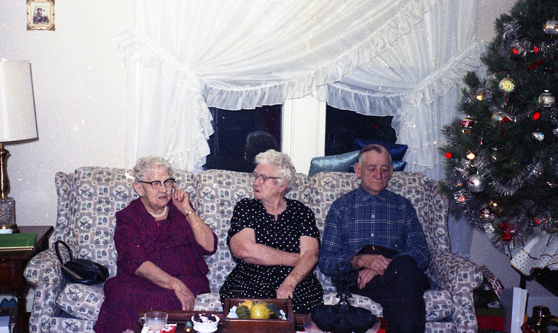 Christmas, 1967:  Grandma Shaffer, Grandma Collins, and Grandpa Collins.
