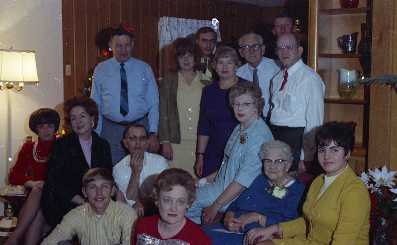 Shaffer Family Gathering at Homer & Wilma Cline's Home, probably in September for Grandma Shaffer's Birthday.  Steve Cline is missing from this photograph.