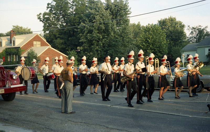 Triad High School Band in the Troy Homecoming Parade (1968).  Dad is standing in front of the Fire Engine.  He was Parade Chairman.
