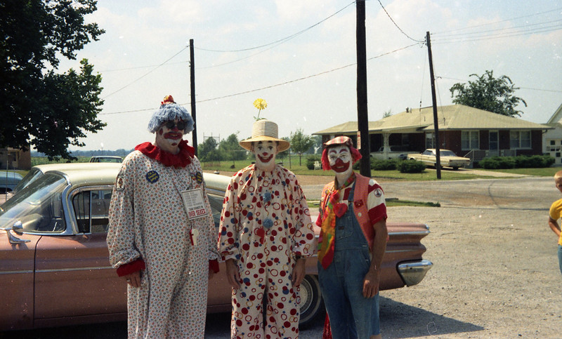 Clowns in the Parking Lot of Hsgnauer's Market in St. Jacob, IL.