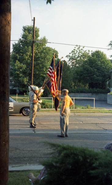 Dad watching the Color Guard for the 1968 Troy Homecoming Parade.